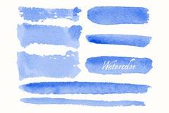 Uppsättning av blåa vattenfärgklickar och fläckar stock illustrationer