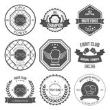 Uppsättning av blandade kampsportetiketter, emblem Arkivfoto