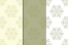 Uppsättning av bleka blom- bakgrunder för olivgrön gräsplan mönsan seamless Arkivfoto