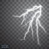 Uppsättning av blixtar Åska-storm och blixtar Magiska och ljusa belysningeffekter Royaltyfria Bilder