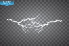 Uppsättning av blixtar Åska-storm och blixtar Magiska och ljusa belysningeffekter Arkivfoton