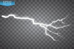 Uppsättning av blixtar Åska-storm och blixtar Magiska och ljusa belysningeffekter Royaltyfri Fotografi