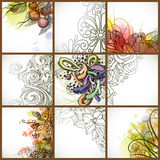 Uppsättning av blom- bakgrunder. Arkivbild