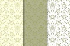 Uppsättning av blom- bakgrunder för olivgrön gräsplan mönsan seamless Arkivfoto