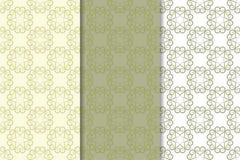 Uppsättning av blom- bakgrunder för olivgrön gräsplan mönsan seamless Royaltyfria Bilder
