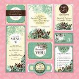 Uppsättning av blom- bröllopkort Arkivfoton