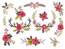 Uppsättning av blom- buketter för vinter Arkivbild