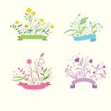 Uppsättning av blom- buketter och romantikerramar Arkivfoton