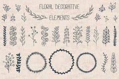 Uppsättning av 30 blom- dekorativa beståndsdelar Fotografering för Bildbyråer