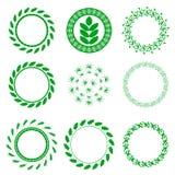 Uppsättning av blom- ramar för grön cirkel Royaltyfri Bild
