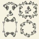 Uppsättning av blom- ramar för tappning och designbeståndsdelar - vektorillustration Royaltyfri Bild