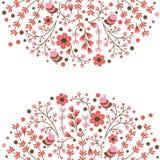 Uppsättning av blom- ramar för vektor Den gulliga samlingen av kransar som göras av den drog handen, lämnar och blommar Tappningu Arkivfoto