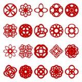 Uppsättning av blom- spirala geometriska beståndsdelar Royaltyfria Bilder