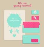 Uppsättning av blom- tappningbröllopkort, inbjudningar Inbjudan en Royaltyfria Foton