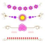 Uppsättning av blommadesignbeståndsdelar, illustrationvektor, linje huvud, blommakort Royaltyfria Foton
