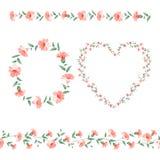 Uppsättning av blommaramar Royaltyfria Bilder