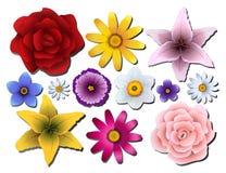 Uppsättning av blommor av olika färger Royaltyfri Illustrationer