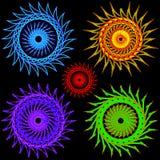 Uppsättning av blommor av olika färger stock illustrationer
