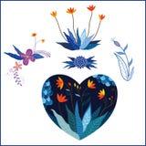 Uppsättning av blommor i hjärtaform Arkivbild