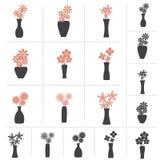 Uppsättning av blommor i vassamling Arkivfoto