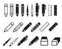 Uppsättning av blyertspenna- och pennsymboler royaltyfri illustrationer