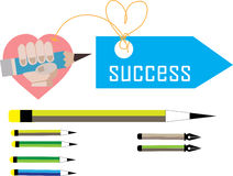 Uppsättning av blyertspennaförälskelse och framgång stock illustrationer