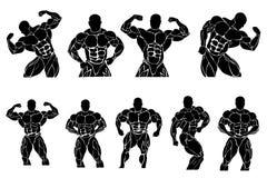 Uppsättning av bodybuildingsymboler, vektorillustration Royaltyfri Fotografi