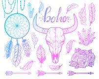 Uppsättning av bohobeståndsdelar Stam- stil för tjurskalleindianer Tatueringblackwork Tecknad illustration för vektor hand arkivbilder