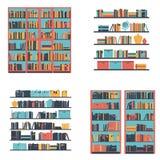 Uppsättning av bokhyllor och bokhyllan med böcker också vektor för coreldrawillustration Arkivbilder