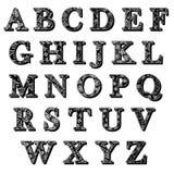 Uppsättning av bokstäver för abcantiquaalfabet med modellen Royaltyfri Bild