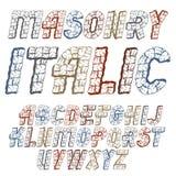 Uppsättning av bokstäver för engelskt alfabet för moderiktig gammal vektor isolerade huvud Djärv kursiv stilsort, maskinskrivet m stock illustrationer