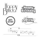 Uppsättning av bokstäver för ` s för lycklig födelsedag stock illustrationer