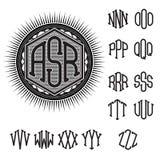 Uppsättning av bokstäver för stilfull retro monogram för garnering royaltyfri illustrationer
