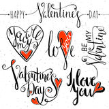 Uppsättning av bokstäver för valentindag stock illustrationer