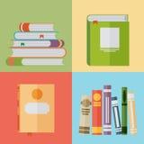 Uppsättning av boksymboler i plan designstil Arkivfoton