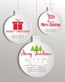 Uppsättning av bollar för vit jul royaltyfri illustrationer