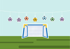 Uppsättning av bollen med fotbollmålet, sport, vektorillustrationer Royaltyfri Fotografi