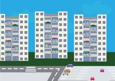 Uppsättning av 3 bostads- byggnader Vektor Illustrationer