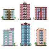 Uppsättning av bostads- hus för olik panel samling av den färgrika vektorlägenhetillustrationen stock illustrationer