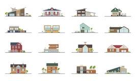 Uppsättning av bostads- hus för olika stilar Färgrik plan vektorillustration Samlingsbyggnadsvilla, stuga stock illustrationer