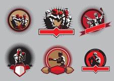 Uppsättning av boxningsymboler eller emblem Fotografering för Bildbyråer