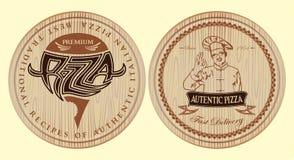 Uppsättning av bräden för pizza med inskrifter och symboler för meny Royaltyfria Bilder