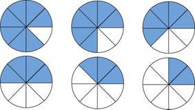 Uppsättning av bråkdelar matematik Bråkdeltabell som ska läras vektor illustrationer