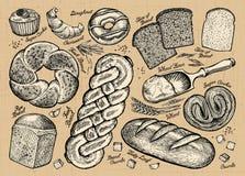 Uppsättning av bröd, bageriprodukter också vektor för coreldrawillustration Royaltyfri Bild