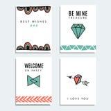 Uppsättning av bröllop- och födelsedagkort, hipsterdesign, bakgrund stock illustrationer