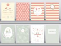 Uppsättning av bröllopinbjudankort, affisch, mall, hälsningkort, djur, katt, björn, hjort, kanin, vektorillustrationer stock illustrationer
