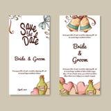 Uppsättning av bröllopinbjudningar Mall för bröllopkort med individuellt begrepp Planlägg för inbjudan, tacka dig att card, spara stock illustrationer
