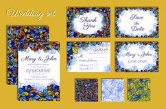 Uppsättning av bröllopinbjudningar och den sömlösa modellen för din design Stock Illustrationer