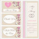 Uppsättning av bröllopinbjudningar och meddelanden royaltyfri illustrationer