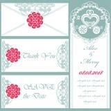 Uppsättning av bröllopinbjudningar och meddelanden stock illustrationer